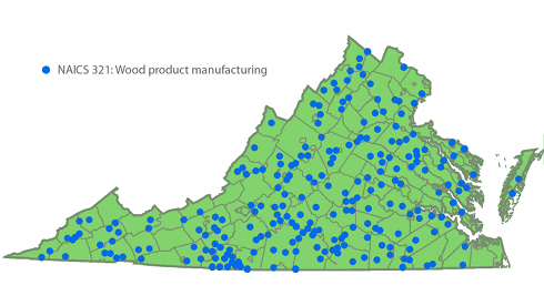 Virginia Wood Product manufacturing map